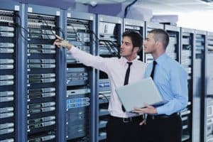 Engineer in network server room