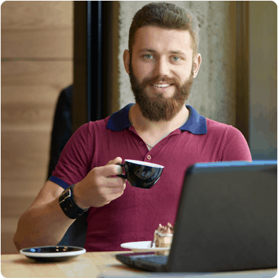 Guy drinking coffee